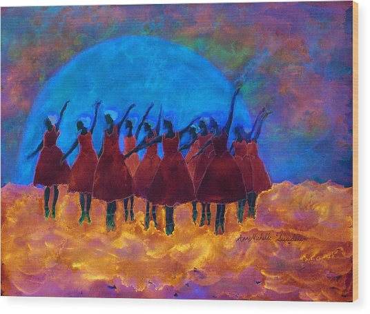 Dancing On Fire In The Moon Light Wood Print
