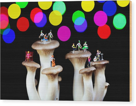 Dancing On Mushroom Under Starry Night Wood Print