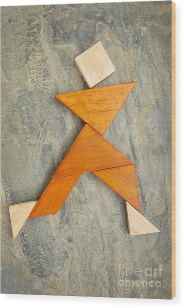 Dancing Or Running Figure Wood Print
