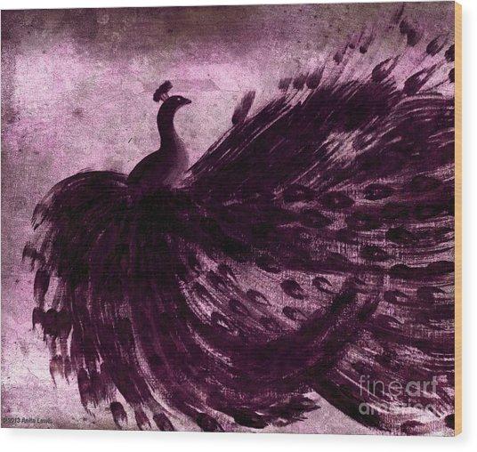 Dancing Peacock Plum Wood Print