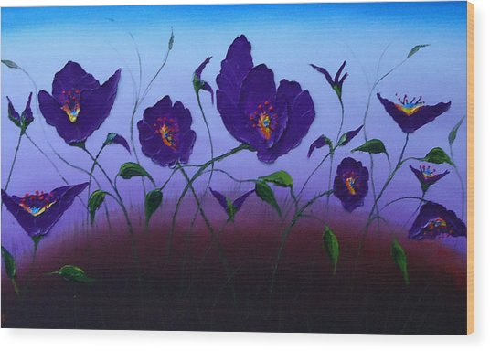 Dancing Purple Poppies 1 Wood Print by Portland Art Creations