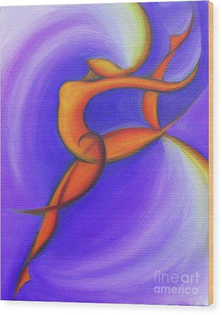 Dancing Sprite In Purple And Orange Wood Print