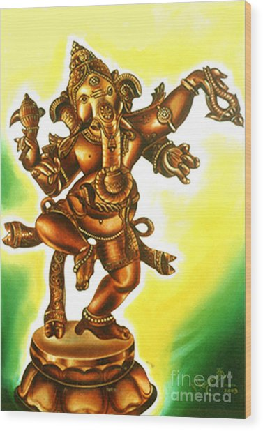 Dancing Vinayaga Wood Print
