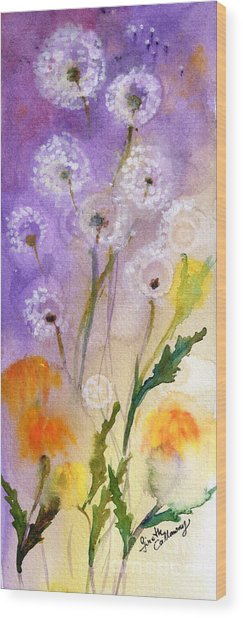 Dandelion Puff Balls Watercolor Wood Print