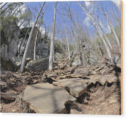Dangerous Hiking Trail Wood Print