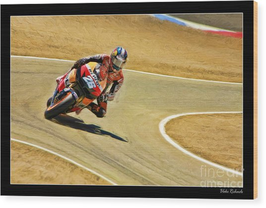 Dani Pedrosa Running Out Of Road Wood Print