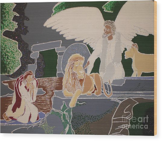 Daniel And The Lions Den Wood Print by Daniel Henning
