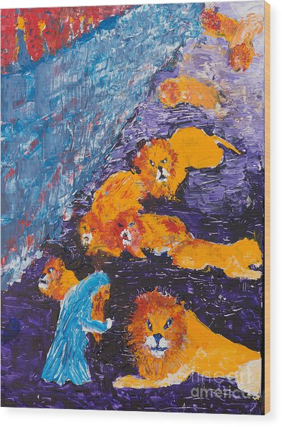 Daniel And The Lions Wood Print
