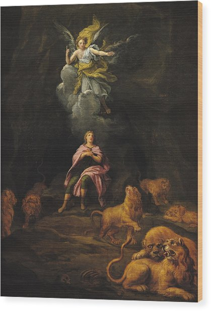 Daniel In The Den Of Lions Oil On Canvas Wood Print