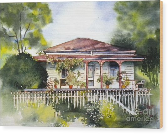 Danny Deck Chairs House  Wood Print