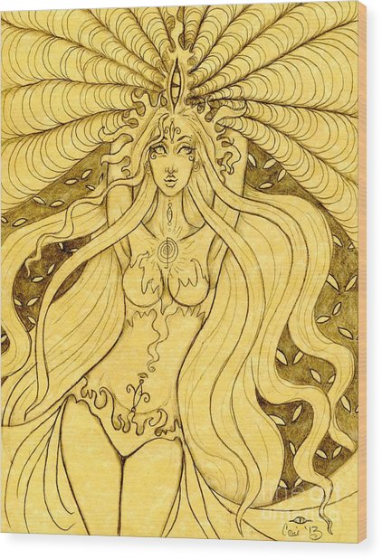 Danu Rising Sketch Wood Print by Coriander  Shea