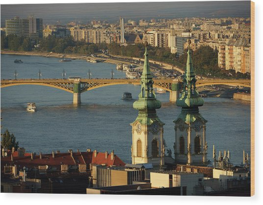 Danube River And Budapest, Hungary Wood Print by Chlaus Lotscher