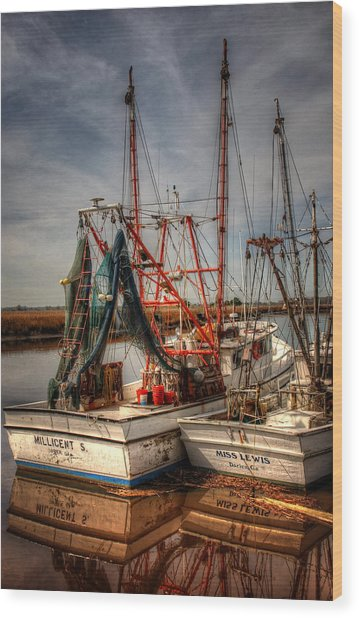 Darien Boats Wood Print