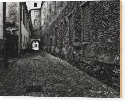 Dark Alley Wood Print