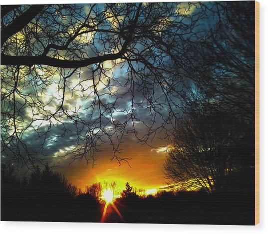 Dark Beauty Sunset Wood Print by James Hammen