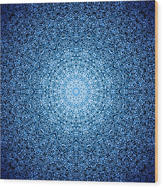 Dark Blue Quasicrystal Wood Print