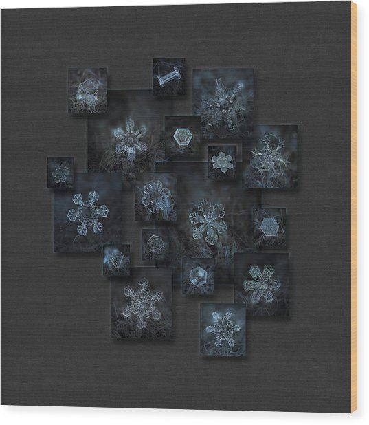 Snowflake Collage - Dark Crystals 2012-2014 Wood Print