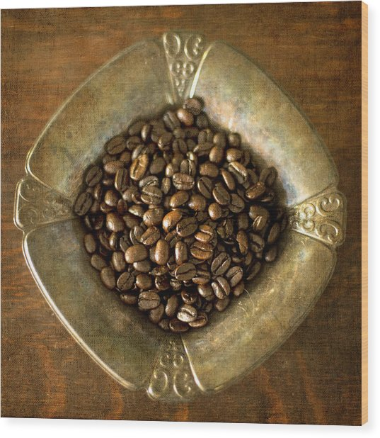 Dark Roast Coffee Beans And Antique Silver Wood Print