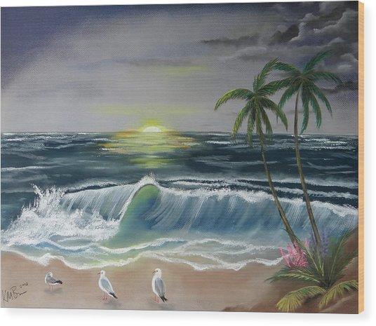Dark Skies On The Beach Wood Print