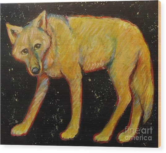 Dark Sky Coyote Wood Print