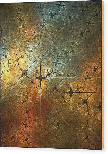 Dark Star Grid Wood Print