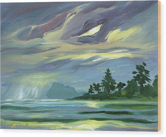 Dark Sunrise Skyscape Wood Print