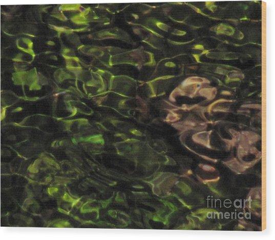 Dark Watery Green Wood Print