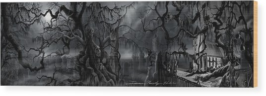 Darkness Has Crept In The Midnight Hour Wood Print