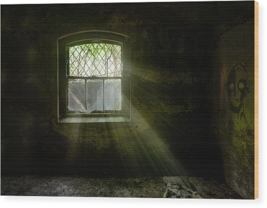 Darkness Revealed - Basement Room Of An Abandoned Asylum Wood Print