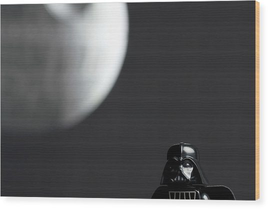 Darth And His Death Star Wood Print