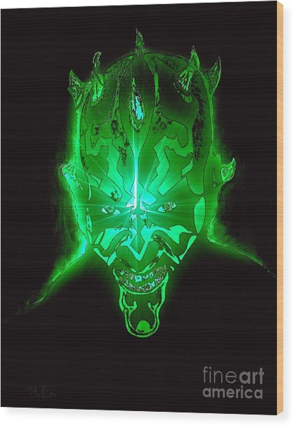 Darth Maul Green Glow Wood Print