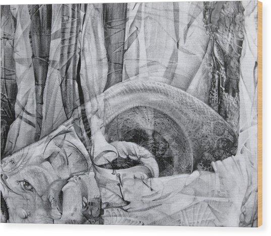 Das Monster Hat Sich Im Ungebuegelten Hintergrund Versteckt Wood Print