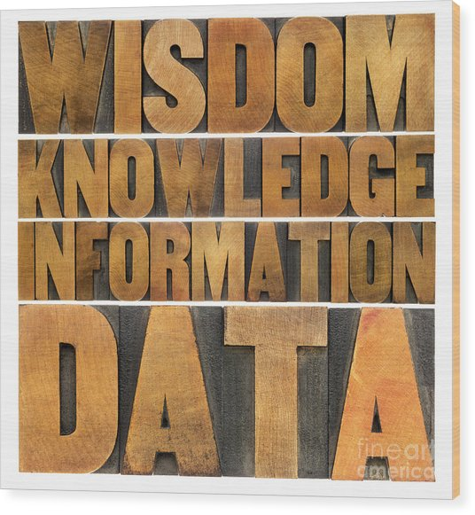 Data Information Knowledge And Wisdom Wood Print
