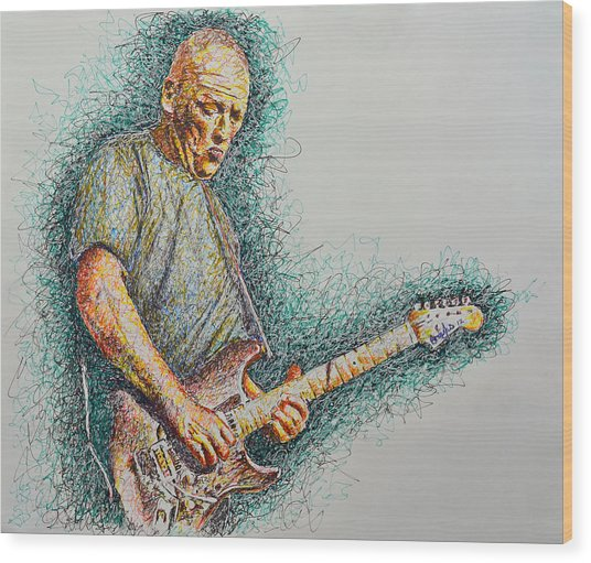 Dave Gilmour Wood Print by Breyhs Swan