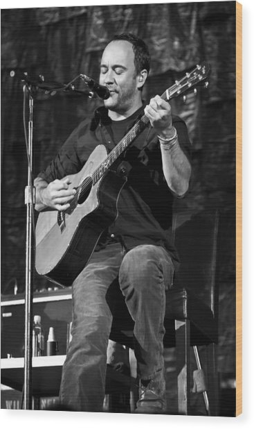 Dave Matthews On Guitar 9  Wood Print by Jennifer Rondinelli Reilly - Fine Art Photography
