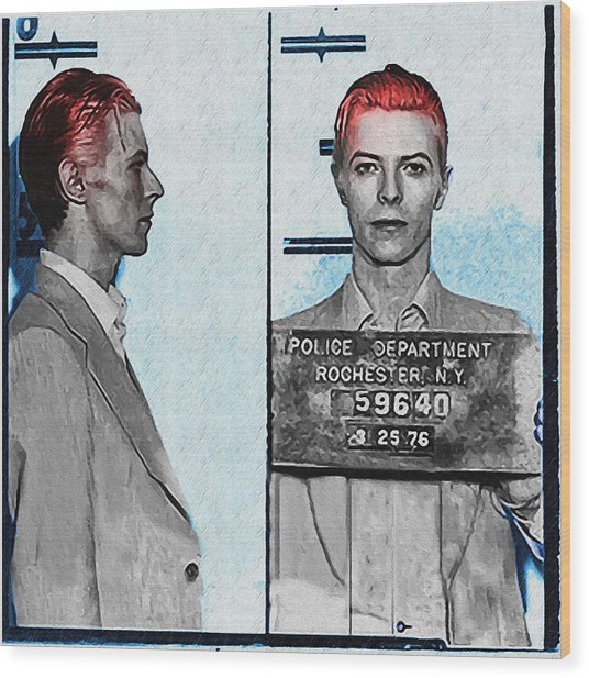 David Bowie Mug Shot Wood Print