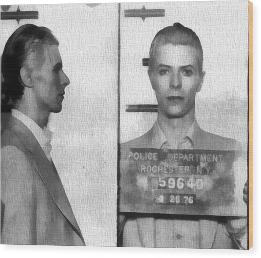 David Bowie Mug Shot Wood Print