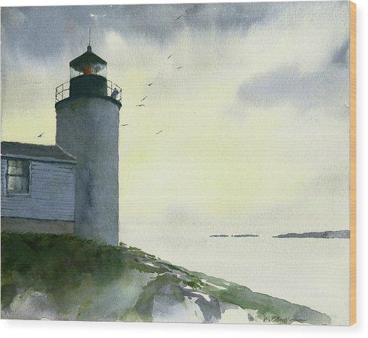 Dawn At Bass Harbor Lighthouse Wood Print
