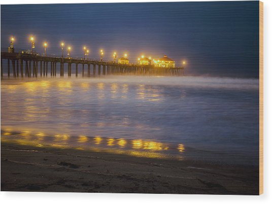 Dawn At Huntington Beach Pier By Denise Dube Wood Print