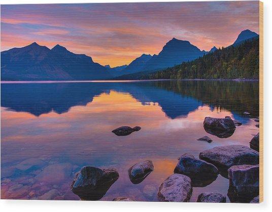 Dawn At Lake Mcdonald Wood Print
