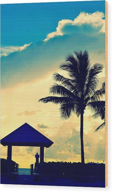Dawn Beach Pyramid Wood Print