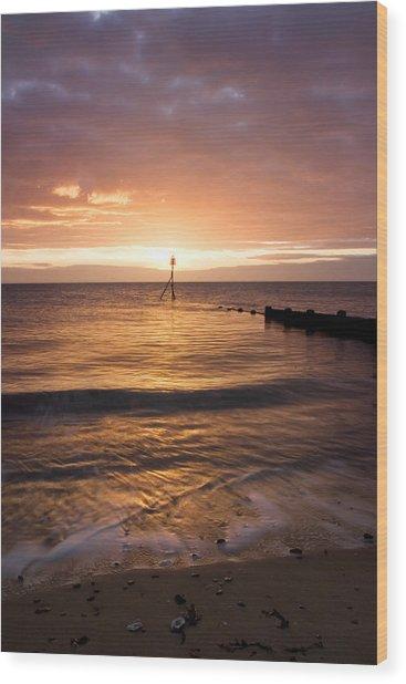 Dawn By The Sea Wood Print by Mara Acoma