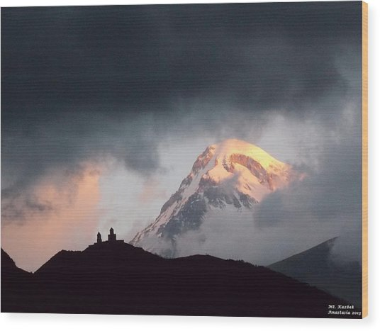 Dawn Caressing Mt Kazbek 2 Wood Print