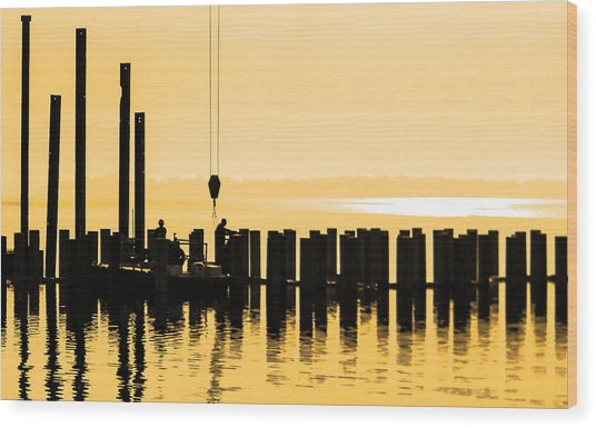 Dawn Dock Work Wood Print