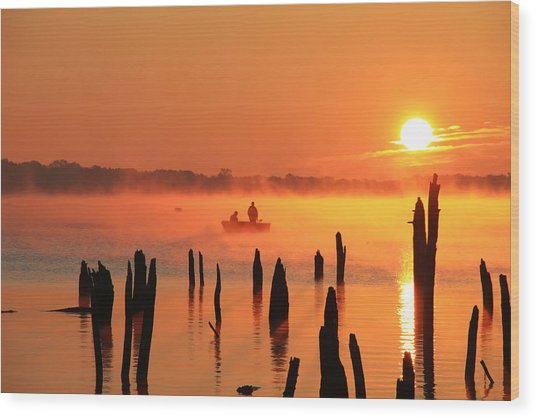 Dawn Fishing Wood Print