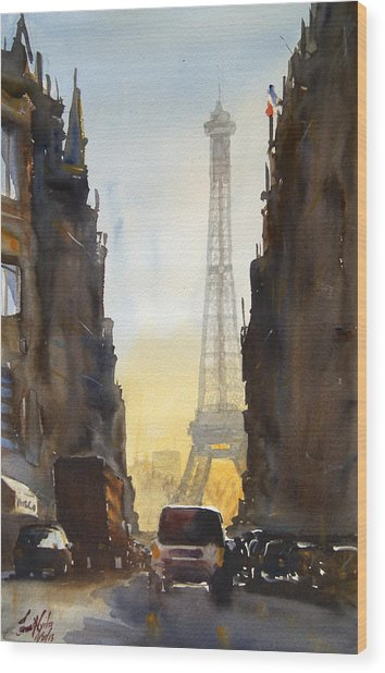 Dawn In Paris Wood Print