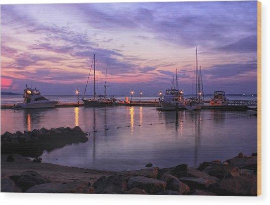 Dawn In Yorktown Virginia Wood Print