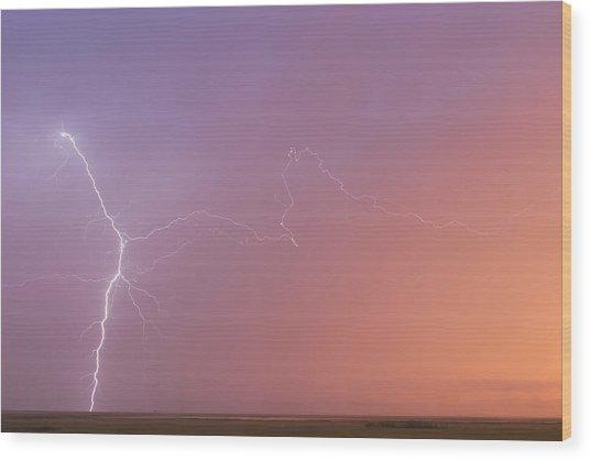 Dawn Lightning Wood Print