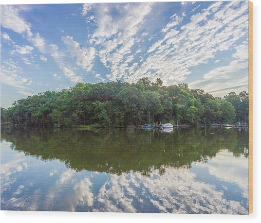 Dawn On The Magothy River Wood Print