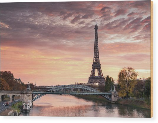 Dawn Over Eiffel Tower And Seine Wood Print by Matteo Colombo